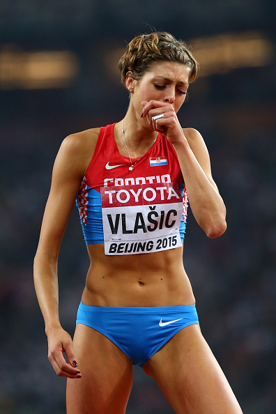 Blanka Vlasic of Croatia tearfully taking second // Getty Images