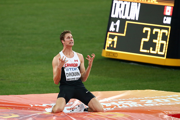 Canada's Derek Drouin after his winning jump // Getty Images