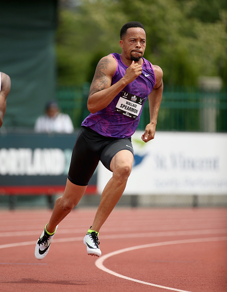 Wallace Spearmon racing at the 2015 U.S. nationals in Eugene, Oregon // Getty Images