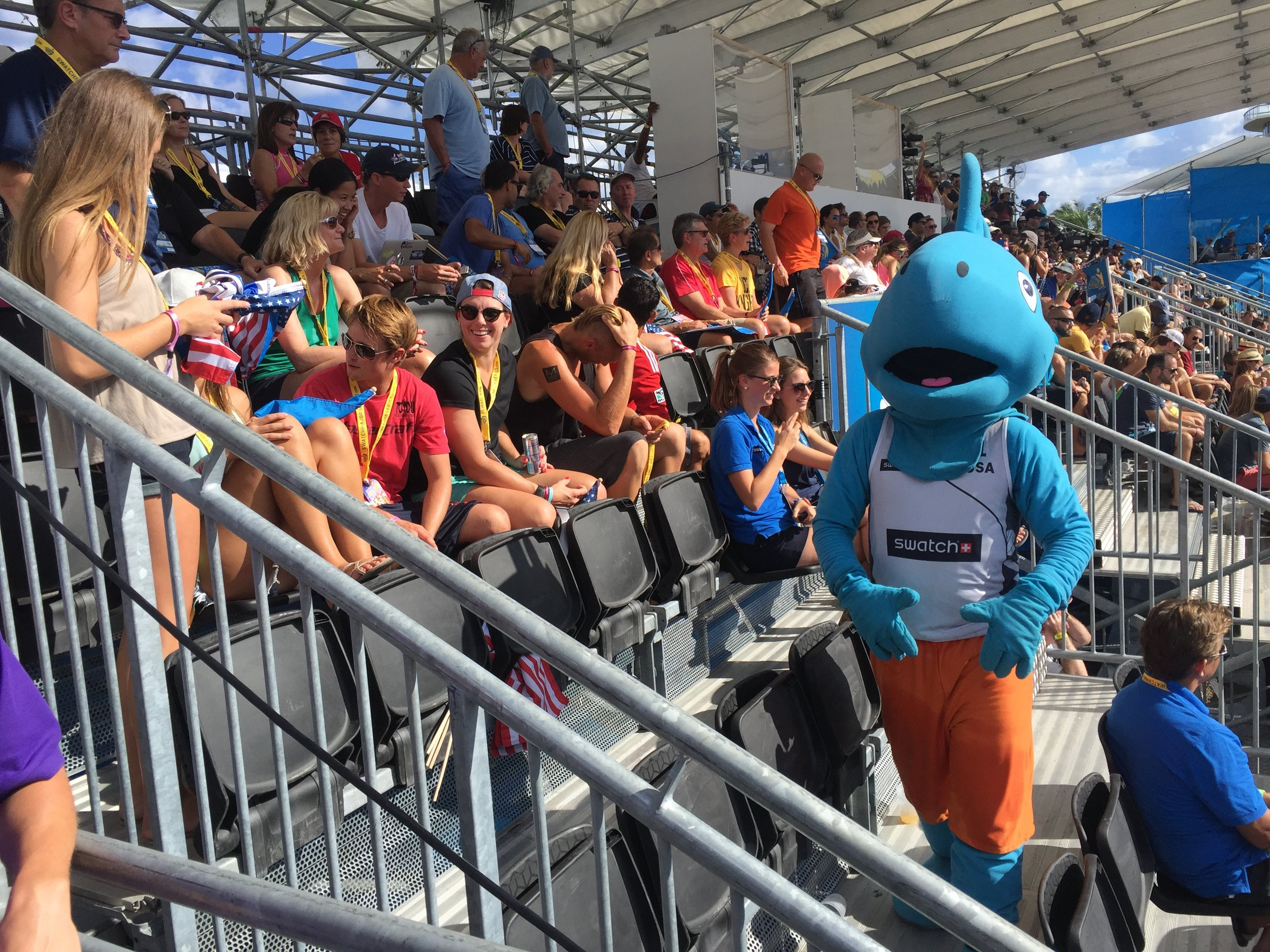 Kudos to Sunny the mascot, working it in 85-degree F weather