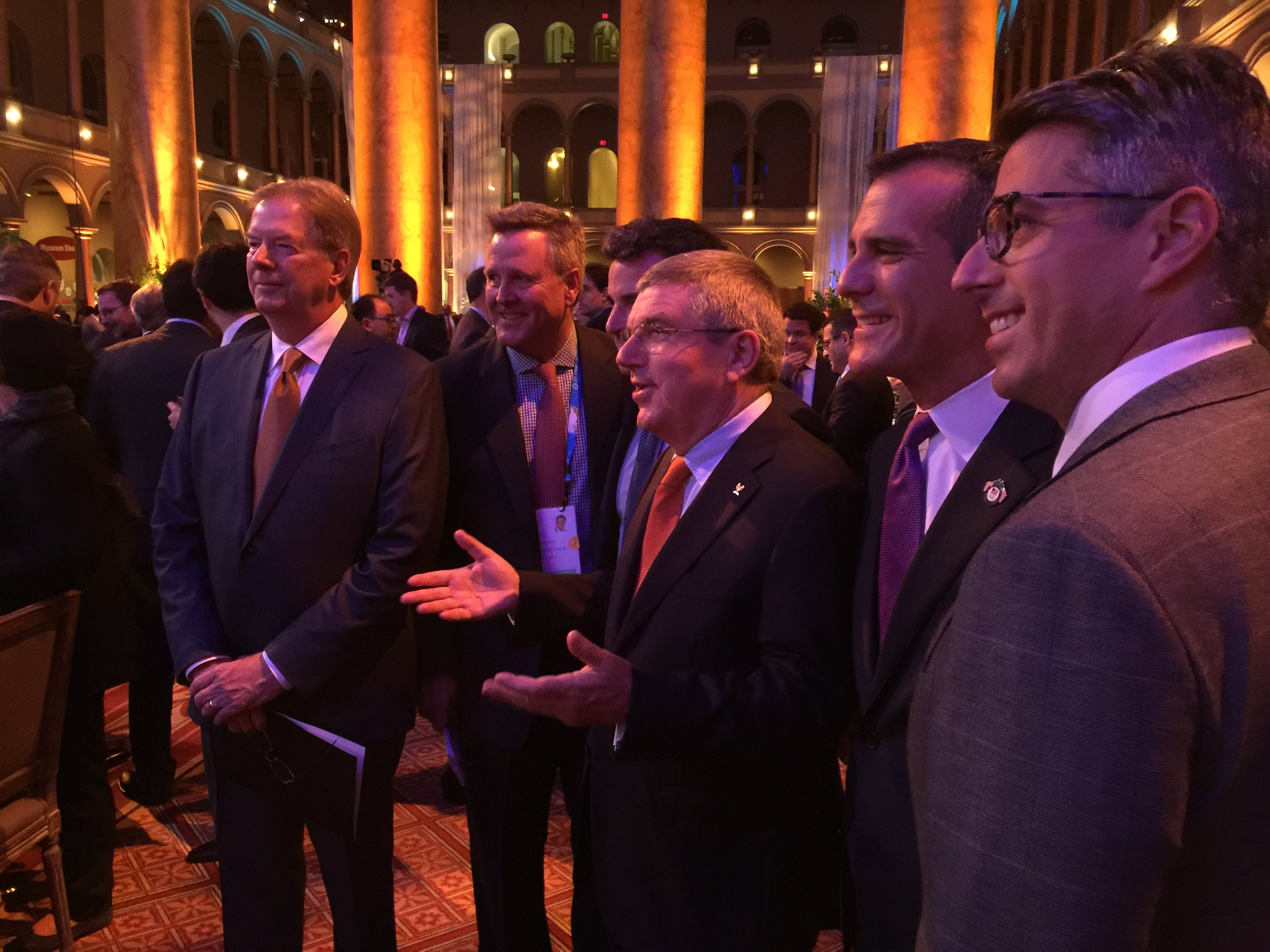 At Wednesday evening's USOC-hosted reception, left to right: USOC board chair Larry Probst, USOC chief executive Scott Blackmun, IOC president Thomas Bach, LA mayor Eric Garcetti, LA 2024 bid chief Casey Wasserman
