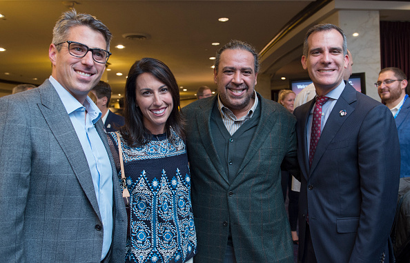 LA 2024 bid chief Casey Wasserman, Olympic swim gold medalist and LA 2024 vice chair Janet Evans, ANOC president Sheikh Ahmad al-Fahad al-Sabah and LA mayor Eric Garcetti as the ANOC meetings got underway on Tuesday // Getty Images
