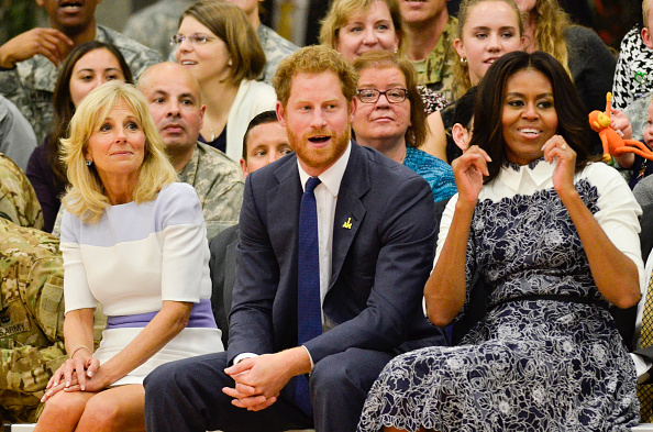 Jill Biden, Prince Harry, Michelle Obama Wednesday at Fort Belvoir, Virginia // Getty Images