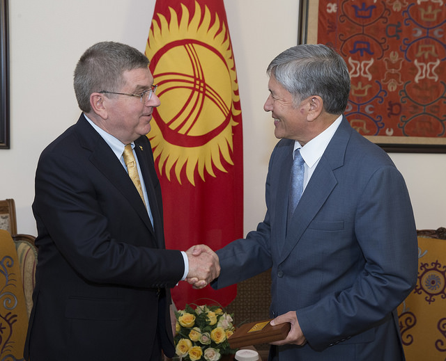 In June at the presidential residence in Bishkek, Kyrgyzstan, with president Almazbek Atambayev // photo IOC