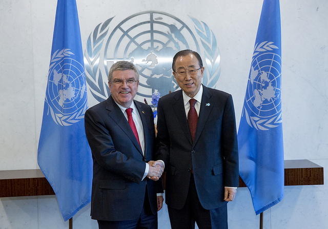 IOC president Thomas Bach in New York in October with UN secretary-general Ban Ki-Moon // photo IOC