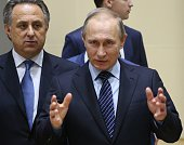 Russian president Vladimir Putin earlier this week in Sochi with sports minister Vitaly Mutko // Getty Images
