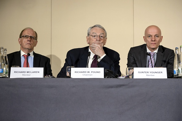 The WADA-appointed three-member Independent Commission upon the release of the report Monday in Geneva: Canadian lawyer and professor Richard McLaren, former WADA president Richard Pound and German law enforcement official Guenter Younger // photo Getty Images