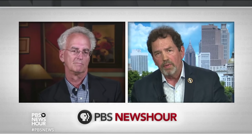 Zimbalist, left, and Hirthler, right, on PBS NewsHour // screenshot