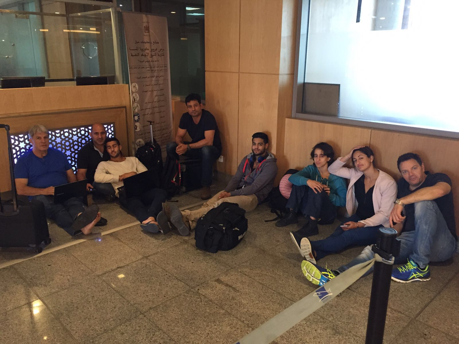 The Israeli team waiting for hours after arrival at the Morocco airport // photo Israel Judo