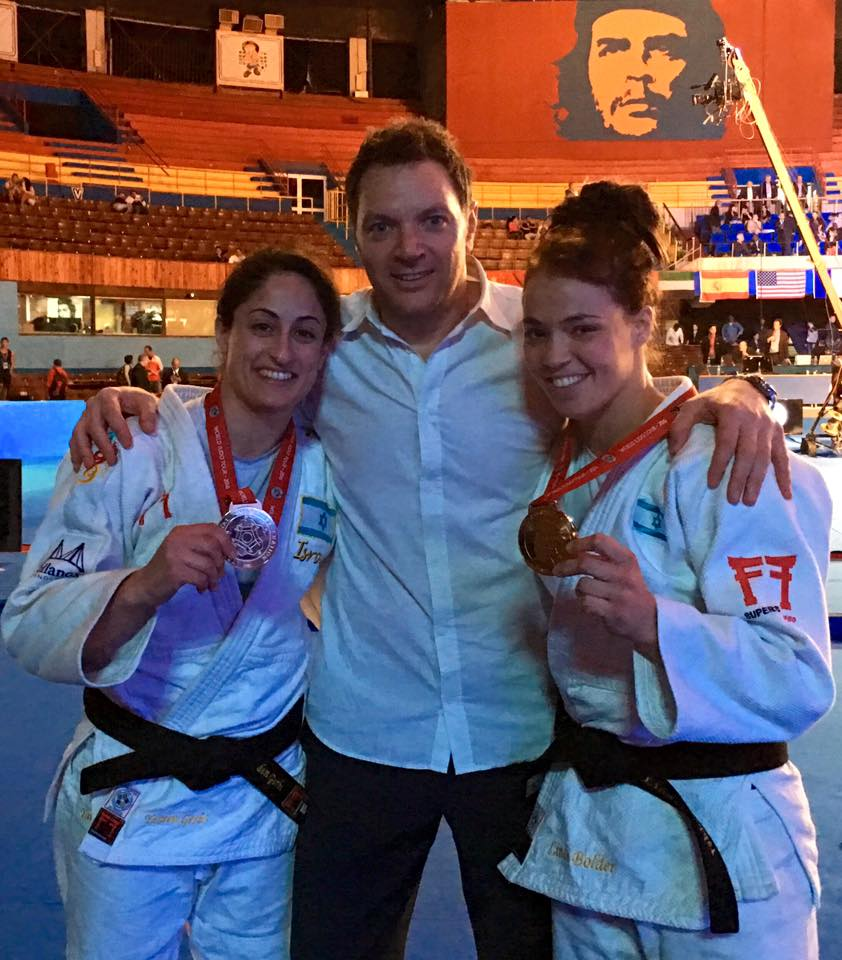 Israeli gold medalists Yarden Gerbi, left, and Linda Bolder, right, with coach Shany Hershko // photo Israeli Judo Federation