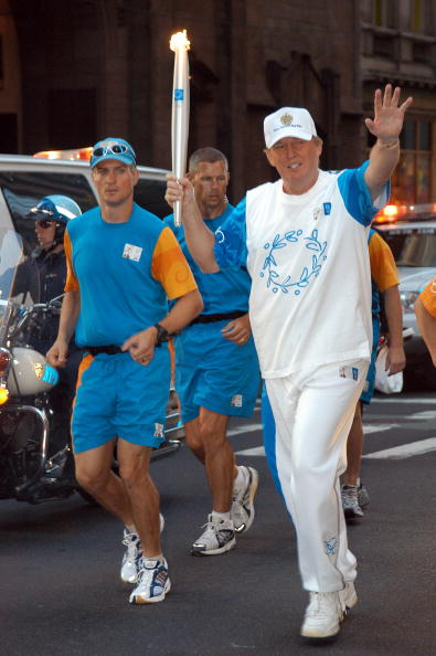 Donald Trump running a leg of the 2004 Athens flame relay in New York // Getty Images
