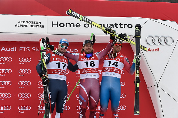 The Jeongseon downhill podium. From left, Paris, Jansrud, Nyman // Getty Images
