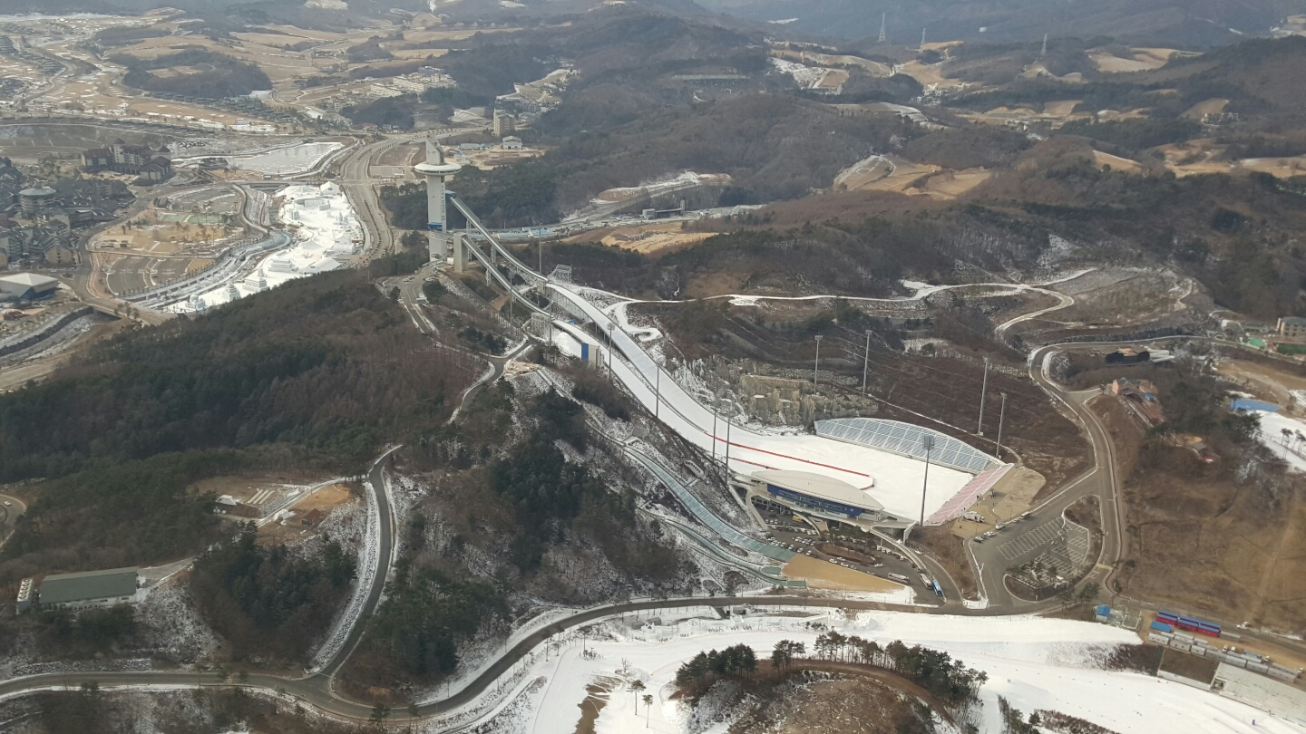 The view from the sky of the ski jump near Alpensia, the center of the 2018 Games // photo POCOG