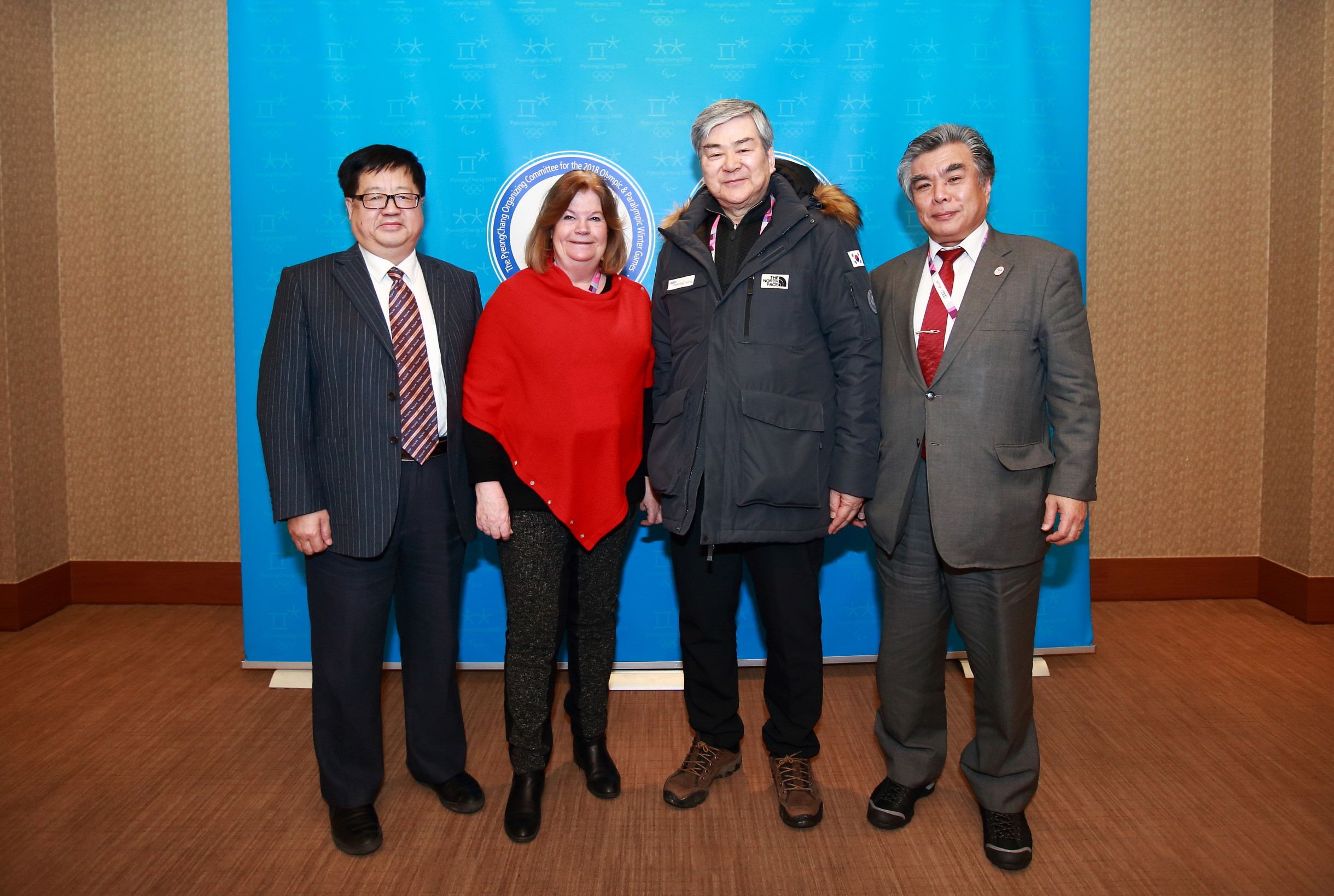 The weekend in Korea saw the first-ever meeting of the Beijing 2022, Tokyo 2020 and Pyeongchang 2018 organizing committees. From left: Da Xu, deputy secretary general, Beijing 2022; Gunilla Lindberg, IOC 2018 coordination commission chair; Cho; Yukihiko Nunomura, chief operating officer, Tokyo 2020 // photo POCOG