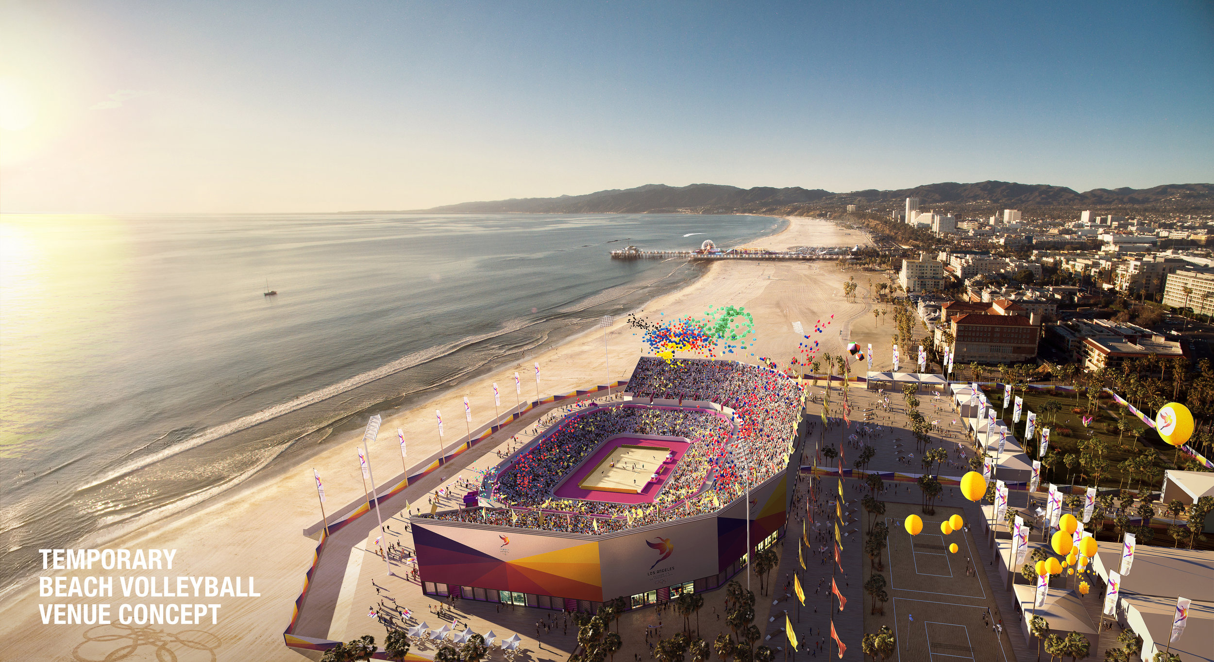 Beach volleyball at Santa Monica beach if the IOC picks LA24 // rendering LA24