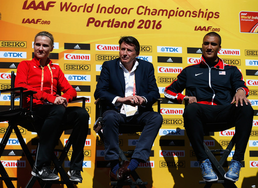 Sebastian Coe at Thursday's news conference, flanked by the husband-and-wife team of Canada's Brianne Theisen-Eaton and American Ashton Eaton, both multi-event stars // Getty Images for IAAF
