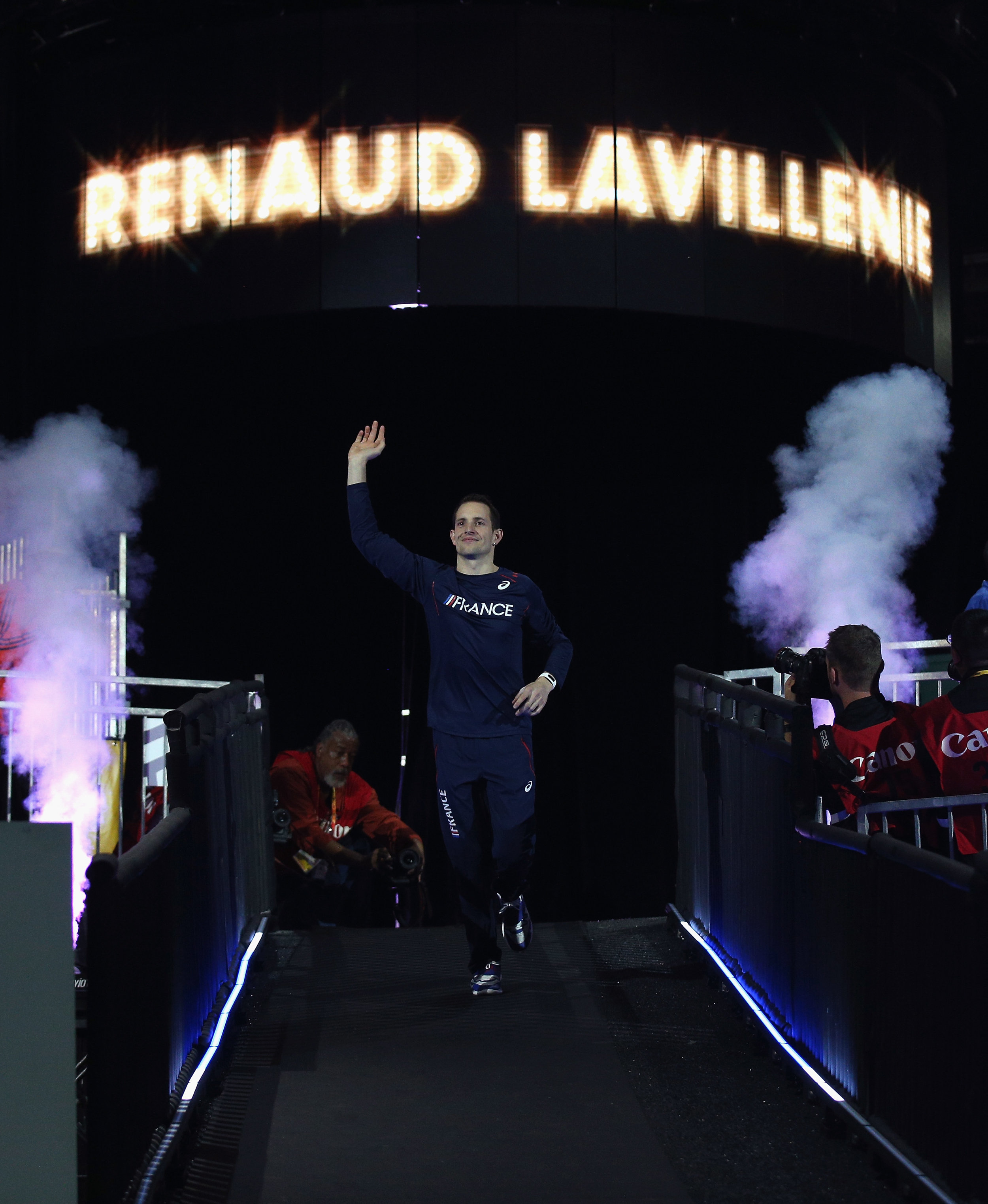 London 2012 gold medalist and current world record-holder Renaud Lavillenie of France making his into to the 2016 indoor worlds // Getty Images for IAAF