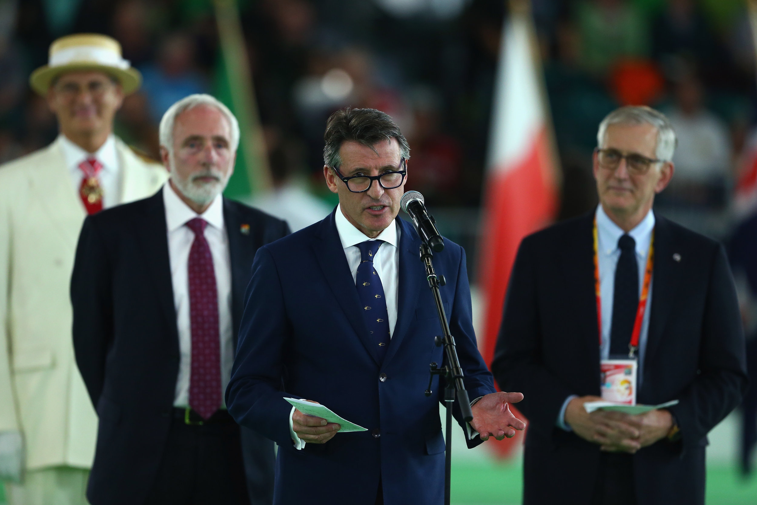 Coe at Thursday's opening ceremony, with Portland 2016 local organizing chief Vin Lannana and Portland mayor Charlie Hales // Getty Images for IAAF
