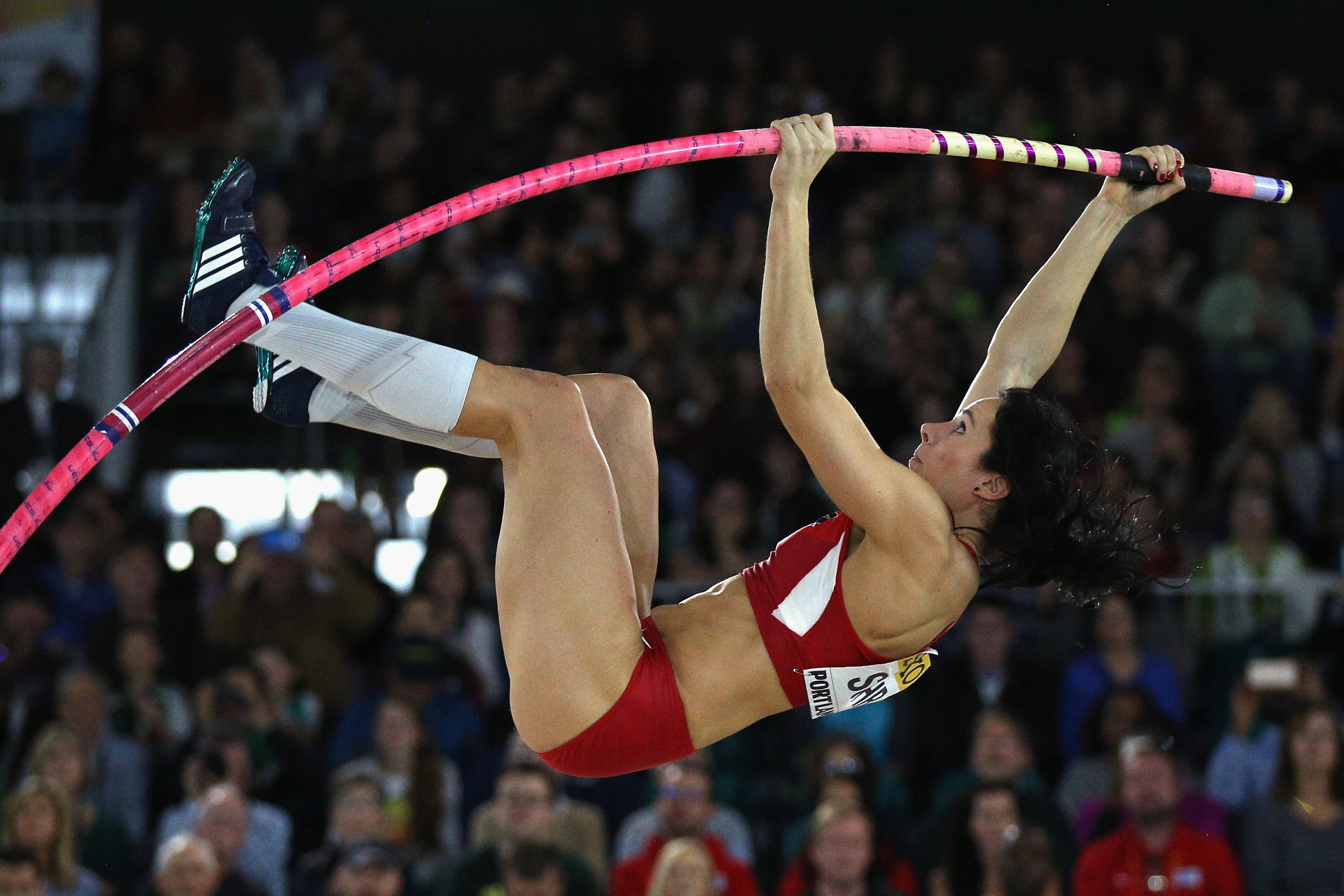 Jenn Suhr, the 2012 Olympic champion, winning 2016 world indoor gold // Getty Images for IAAF