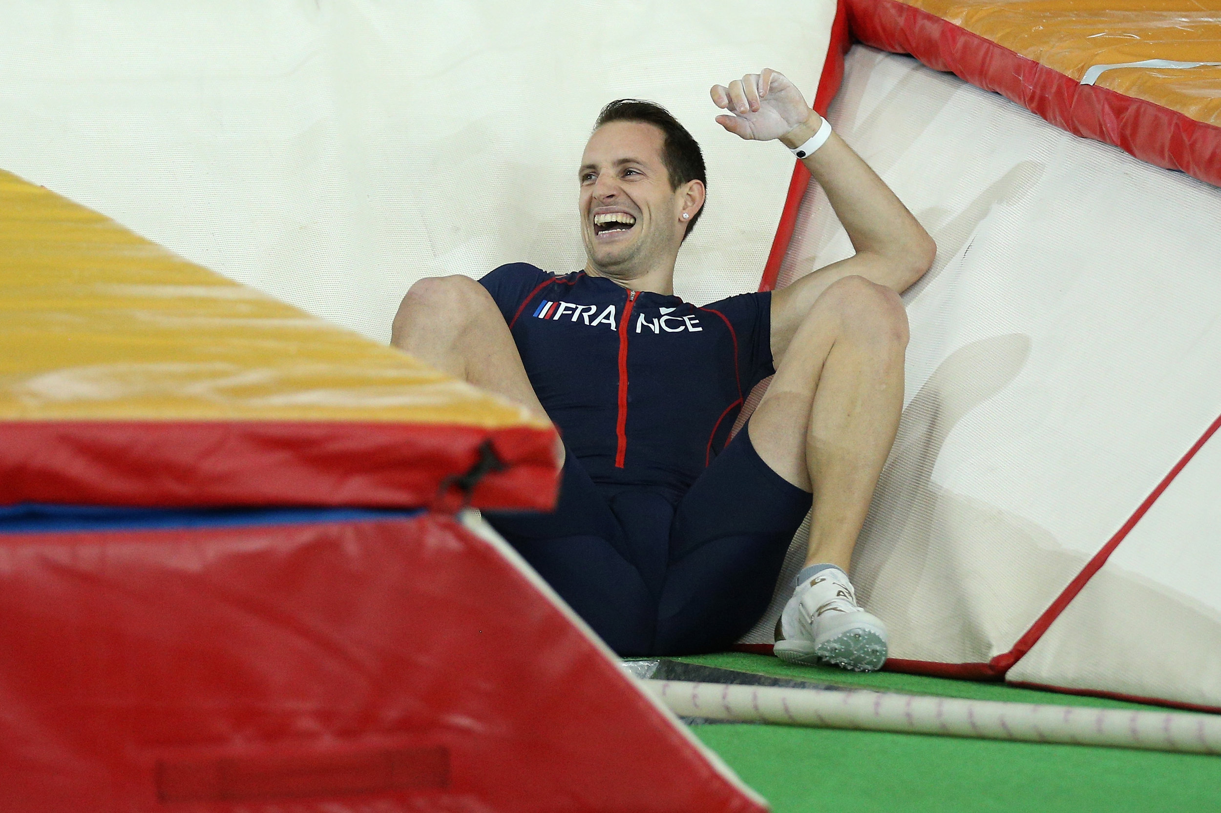 "Lavillenie after a scary end to his second attempt at 6.17: ""I was just able to manage it and fall safely. It's not so often I do something like that. It happens. Pole vault is very dangerous and very intense. That's why we love it."" // Getty Images for IAAF"