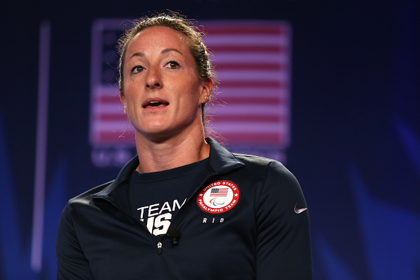 Tatyana McFadden on stage Monday // Getty Images