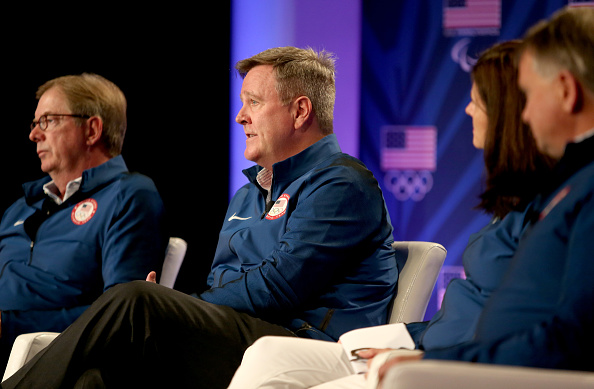 USOC chief executive Scott Blackmun addresses the media at the USOC Olympic media summit at The Beverly Hilton hotel. To his right: USOC board chair Larry Probst // Getty Images