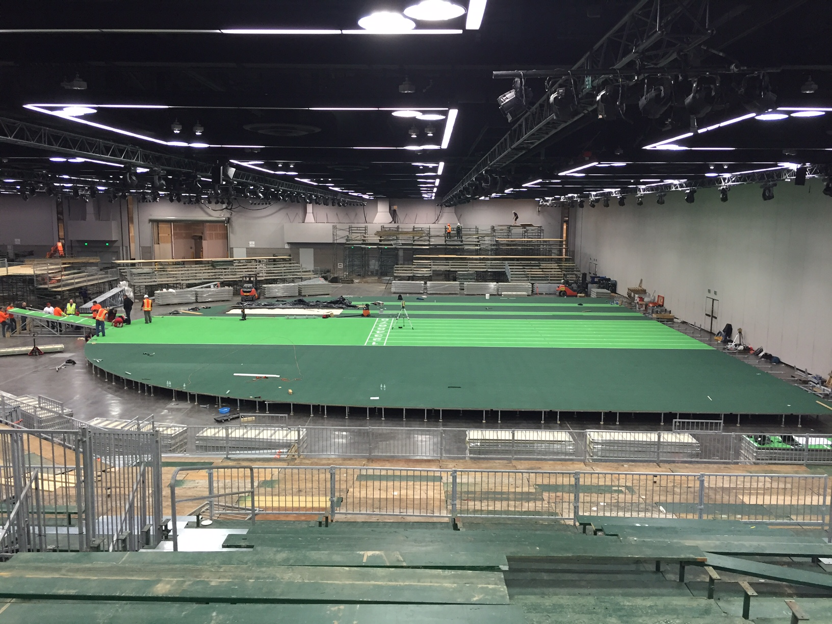 Construction underway: note the wall on the right that had to go // photo courtesy TrackTown USA