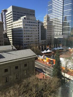 Pioneer Courthouse Square: set up to be the 2016 world indoors medals and party center