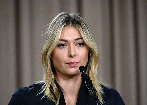 Maria Sharapova bidding to control the narrative at a March 7 news conference in LA, announcing her positive test for meldonium // photo Getty Images
