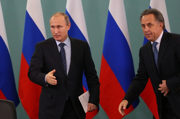 Russian president Vladimir Putin, left, and sports minister Vitaly Mutko // Getty Images