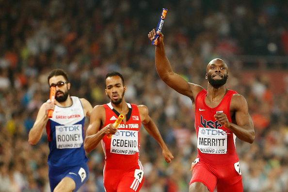 Lashawn Merritt anchors the U.S. team to relay gold at the 2015 world championships in Beijing // Getty Images
