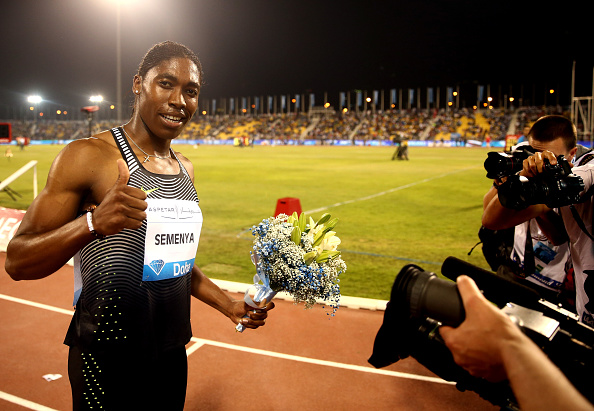 Caster Semenya of South Africa celebrates her May 6 victory in the women's 800 at the Doha Diamond League event // Getty Images