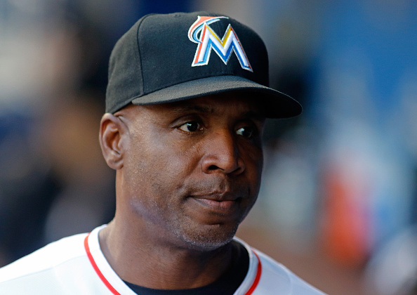 Barry Bonds, now the Miami Marlins batting coach, at a game earlier this month with the Milwaukee Brewers // Getty Images