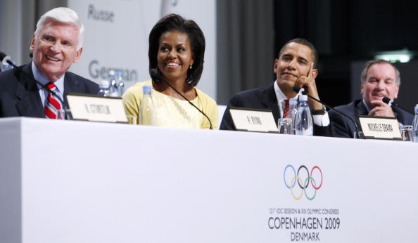 Left to right at the IOC session in Copenhagen in October 2009: Chicago 2016 bid chair Pat Ryan, First Lady Michelle Obama, President Obama, then-Chicago Mayor Richard M. Daley // Getty Images