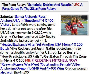 The Let's Run link to a message string sparked by the men's 4x1 at the Penn Relays