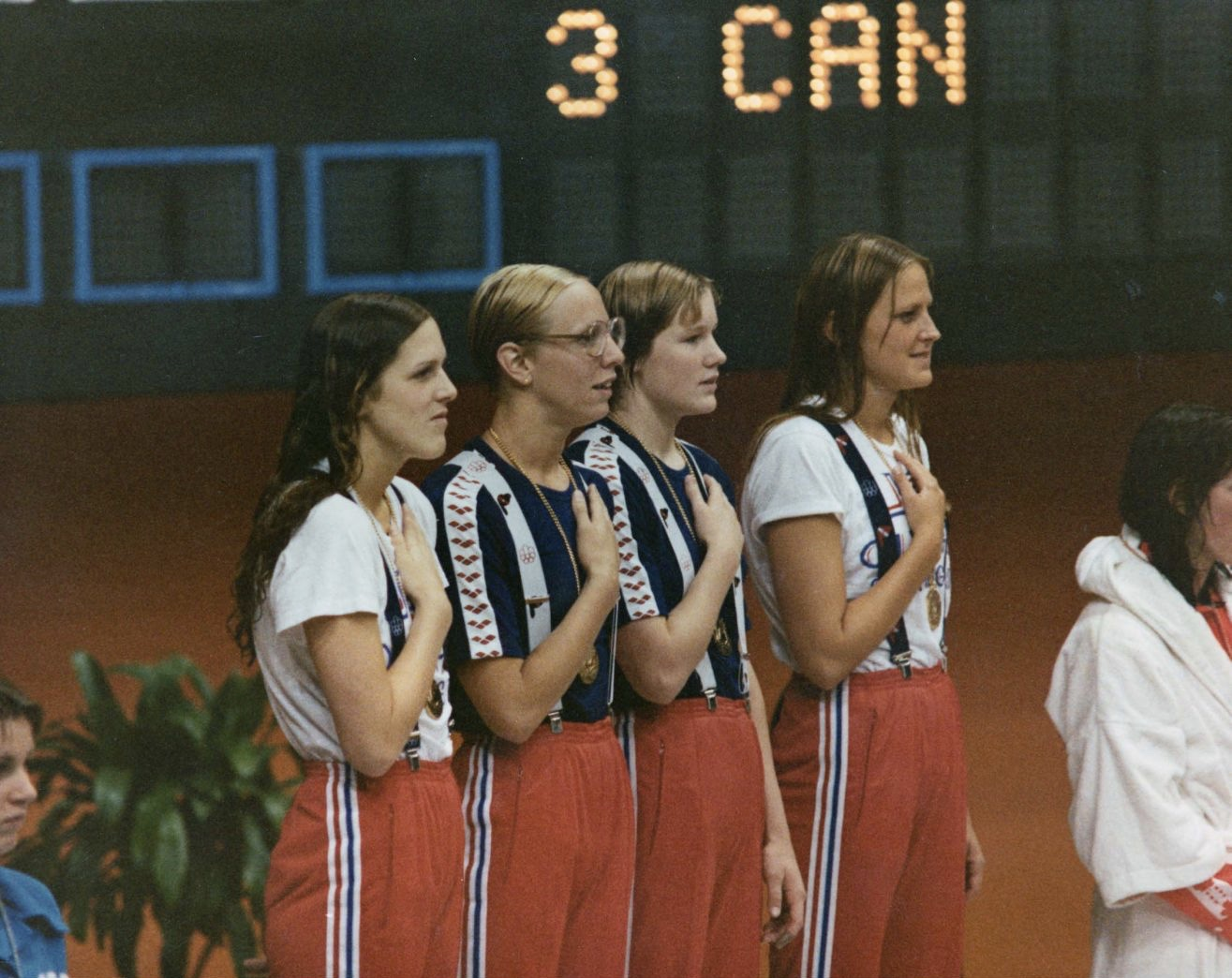 On the medals stand in Montreal: left to right, Kim Peyton, Boglioli, Sterkel, Babashoff // The Last Gold via USOC archives
