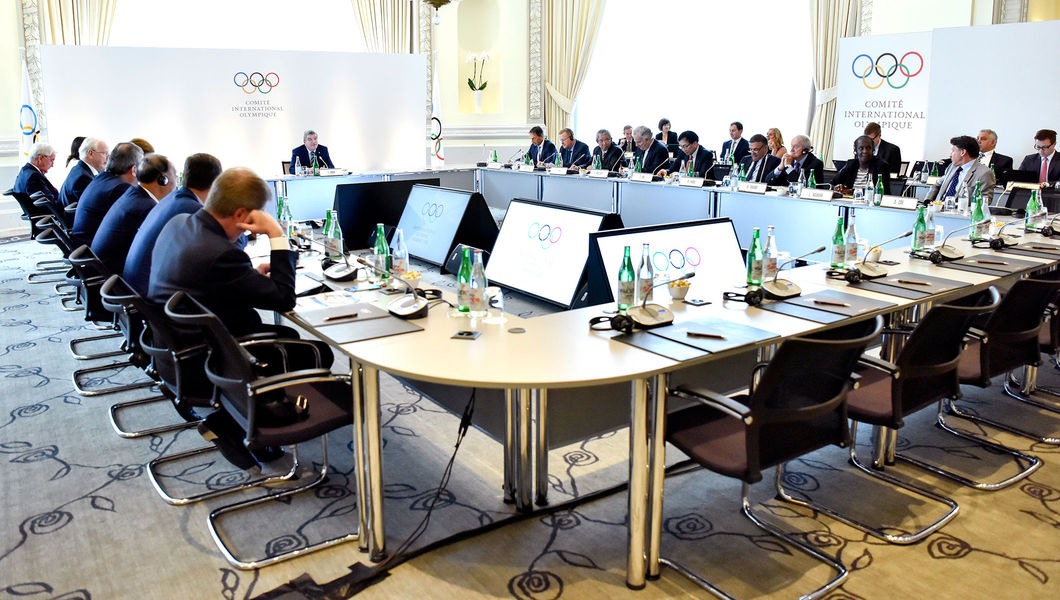 "The scene at Tuesday's IOC ""summit"" // IOC"