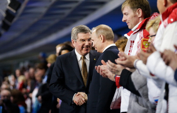 Russian president Vladimir Putin and IOC president Thomas Bach at the closing ceremony in 2014 in Sochi // Getty Images