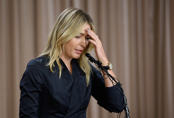 Tennis star Maria Sharapova announcing in March in Los Angeles that she had failed a doping test for meldonium // Getty Images