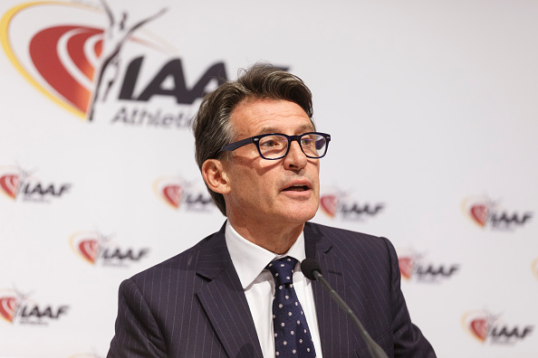 IAAF president Sebastian Coe at news conference last Friday in Vienna // Getty Images