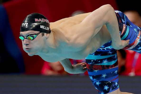 Cody Miller into the pool for the 100 breaststroke // Getty Images