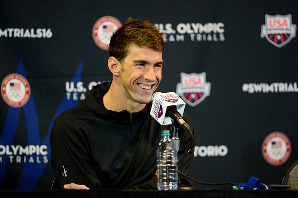 Phelps with the press here in Omaha // Getty Images