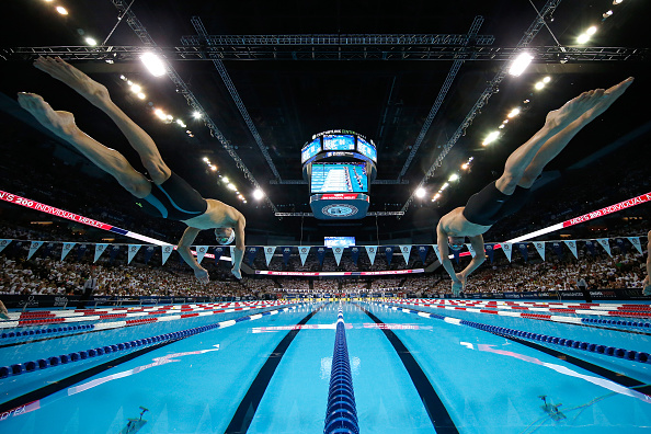 Phelps, left, and Lochte at the start // Getty Images