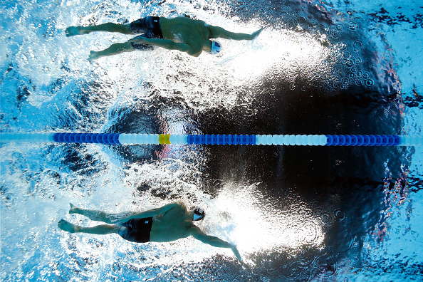 Looking up at Phelps and Lochte mid-race // Getty Images
