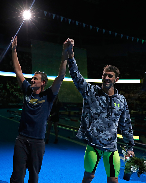 Michael Phelps, right, and Ryan Lochte after the men's 200 IM victory ceremony // Getty Images