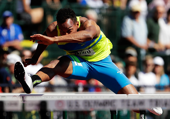 Jeremy Taiwo during the men's 110 hurdles in the decathlon // Getty Images