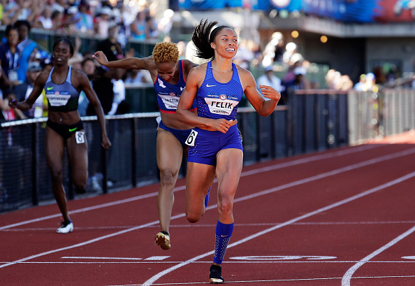Allyson Felix running to victory in the 400 // Getty Images