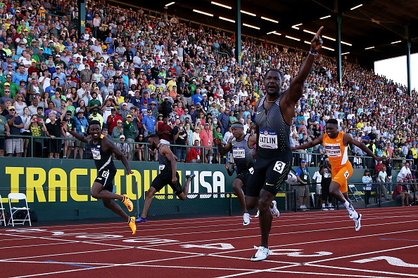Justin Gatlin celebrates his Trials victory // Getty Images