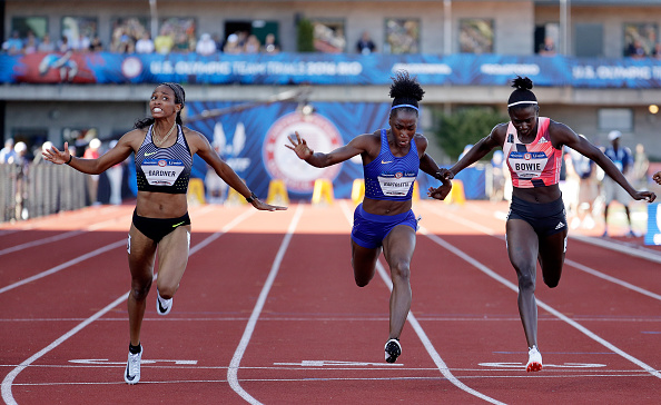 At the line, left to right: Gardner, Bartoletta, Bowie // Getty Images