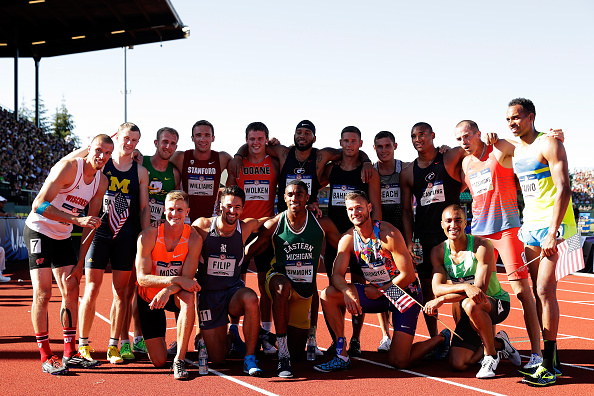 Decathletes pose for a group photo after the U.S. Trials // Getty Images